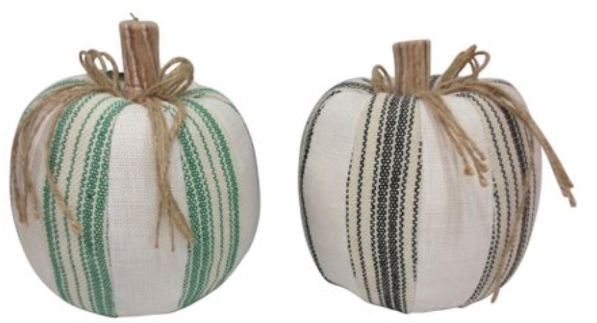 Decorations for a Festive Home Striped Fabric Pumpkins #Decor #ThanksgivingDecor #AffordableDecor #AffordableFallDecor #CheapThanksgivingDecor #QuickAndEasyDecor #BudgetFriendlyDecor