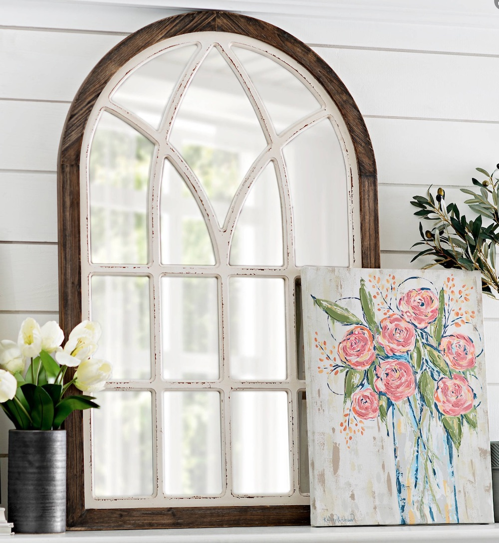 Mirrors with Rustic, Farmhouse Style Vail Two Tone Arch Wall Mirror #DecorativeMirrors #Mirrors #AccentMirrors #Decor #VintageDecor #FarmhouseDecor #RusticDecor