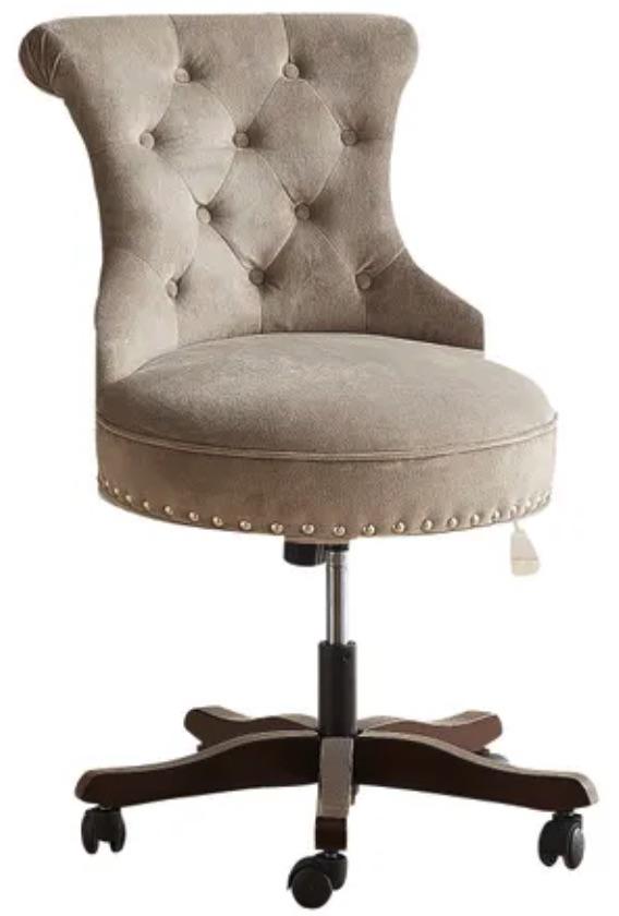 Chairs for Your Workspace Velvet Gray Desk Chair #DeskChairs #HomeOffice #HomeOfficeDeskChairs #OfficeChairs #Decor #FarmhouseDecor #WorkingMoms #WorkFromHome