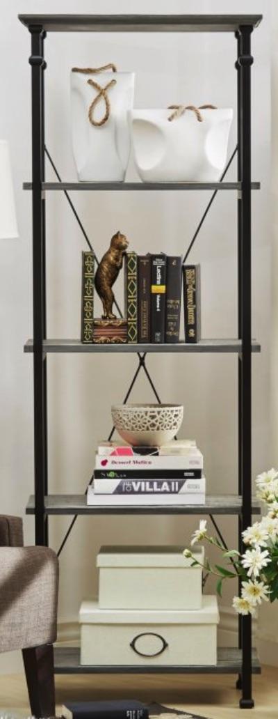 Home Office Organization Decorative 5 Shelf Bookcase #Decor #IndustrialDecor #Bookcases #IndustrialBookcases #HomeOffice #HomeStorage #Organization
