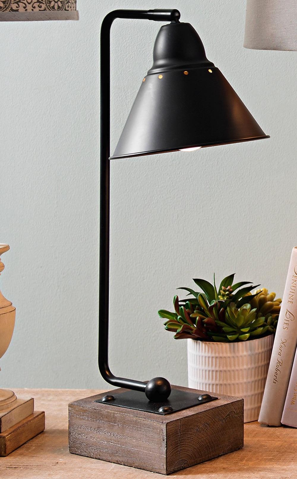 Industrial Desk Lamps for your Workspace Louis Matte Black Metal and Wood Table Lamp #DeskLamps #OfficeLamps #HomeOffice #HomeOfficeDeskLamp #Decor #FarmhouseDecor #IndustrialDecor #WorkingMoms #WorkFromHome
