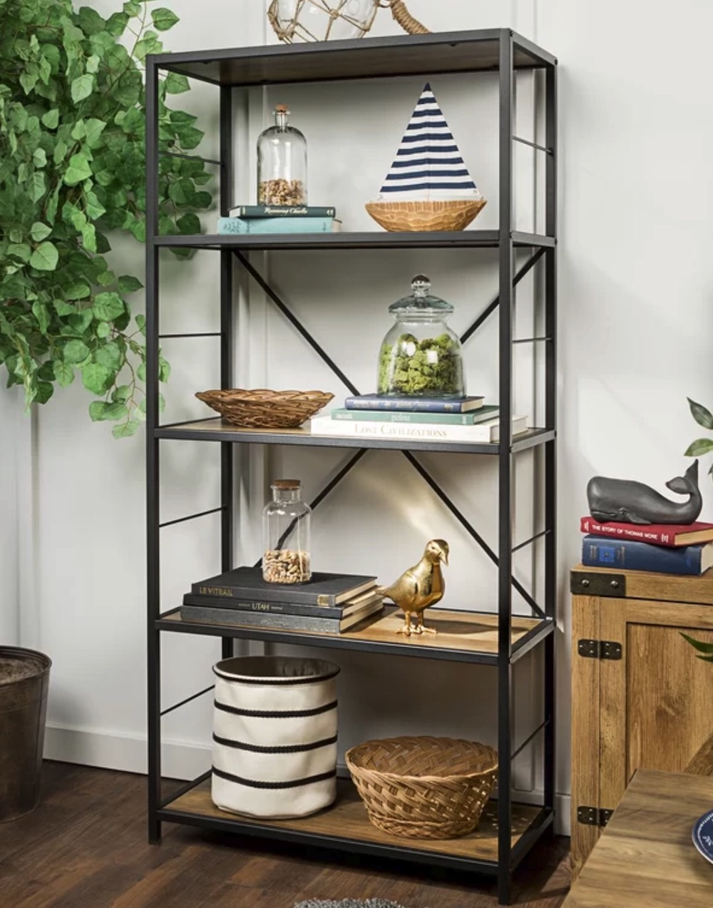 Home Office Storage Macon Etagere Bookcase #Decor #IndustrialDecor #Bookcases #IndustrialBookcases #HomeOffice #HomeStorage #Organization