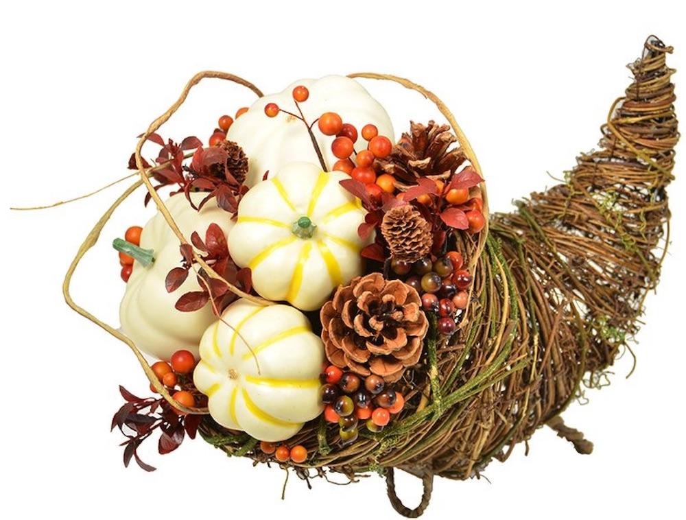 Decor for the Thankful Table Pumpkin Cornucopia #Decor #ThanksgivingDecor #FallCenterpiece #FallDecor #Thanksgiving #ThanksgivingTable #Centerpiece