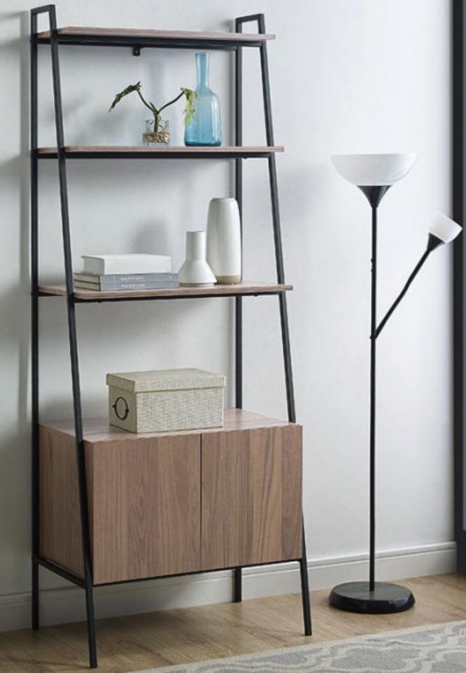 Home Office Storage Urban Industrial Ladder Storage Bookcase #Decor #IndustrialDecor #Bookcases #IndustrialBookcases #HomeOffice #HomeStorage #Organization