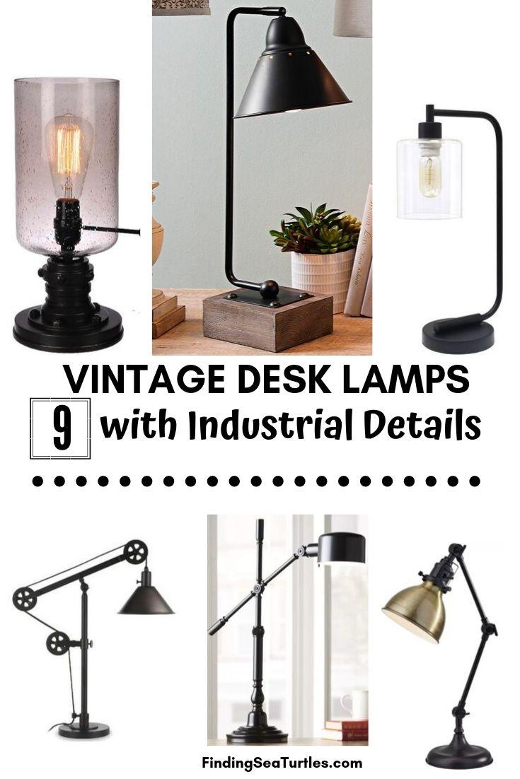 VINTAGE DESK LAMPS 9 with Industrial Details #DeskLamps #OfficeLamps #HomeOffice #HomeOfficeDeskLamp #Decor #FarmhouseDecor #IndustrialDecor #WorkingMoms #WorkFromHome