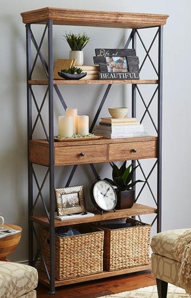 Home Office Storage Weathered Java Bookcase #Decor #IndustrialDecor #Bookcases #IndustrialBookcases #HomeOffice #HomeStorage #Organization