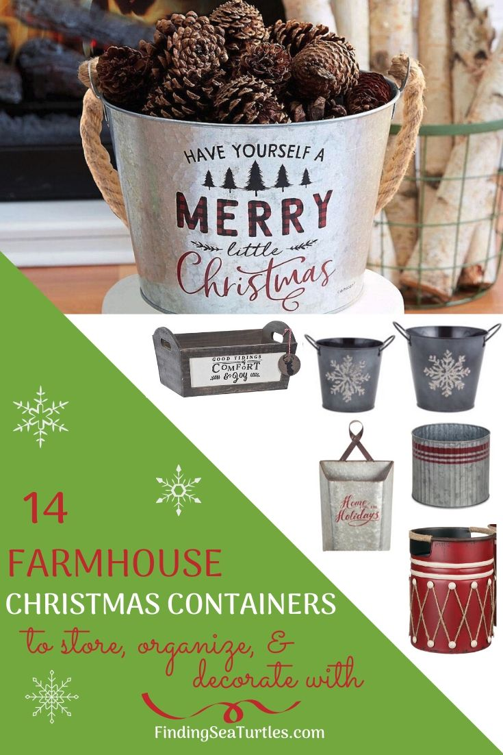 14 FARMHOUSE CHRISTMAS CONTAINERS to store, organize, decorate with #Decor #Organization #ChristmasDecor #FarmhouseDecor #FarmhouseBuckets #FarmhouseChristmas #Containers #ChristmasBuckets #ChristmasBins