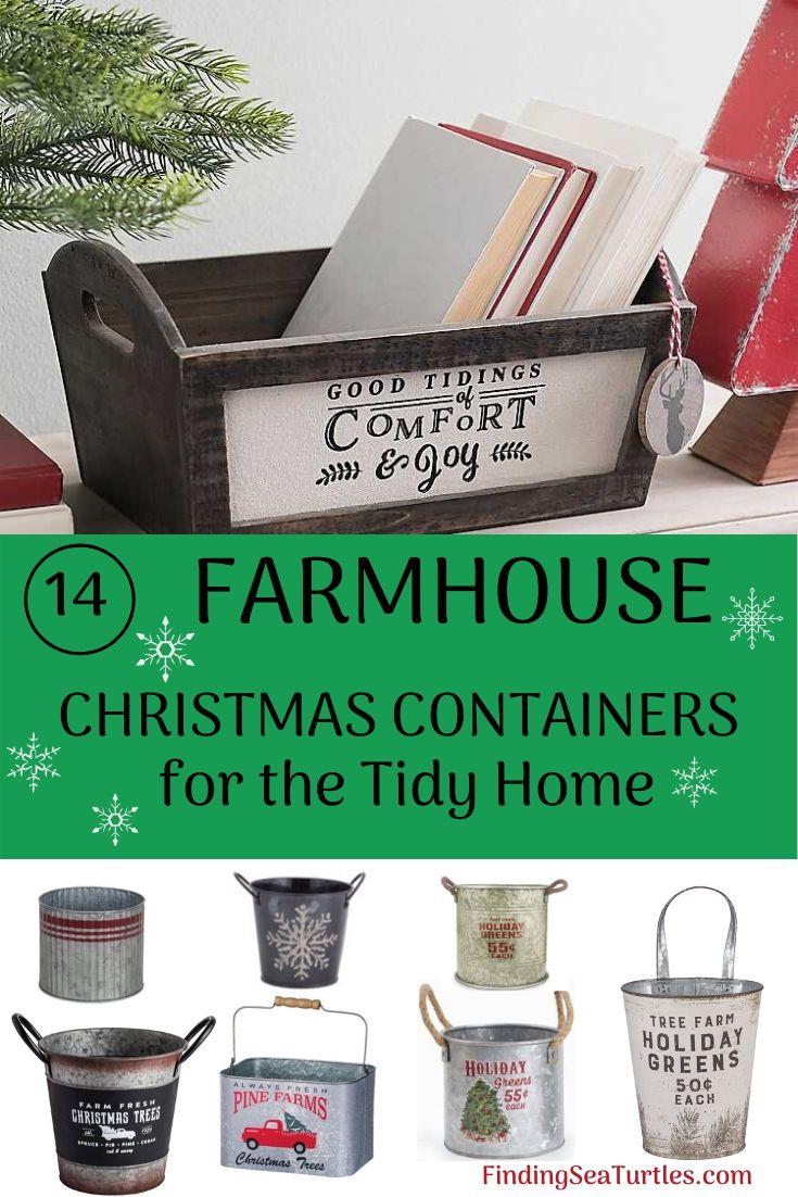 14 Farmhouse Christmas Containers for the Tidy Home #Decor #Organization #ChristmasDecor #FarmhouseDecor #FarmhouseBuckets #FarmhouseChristmas #Containers #ChristmasBuckets #ChristmasBins