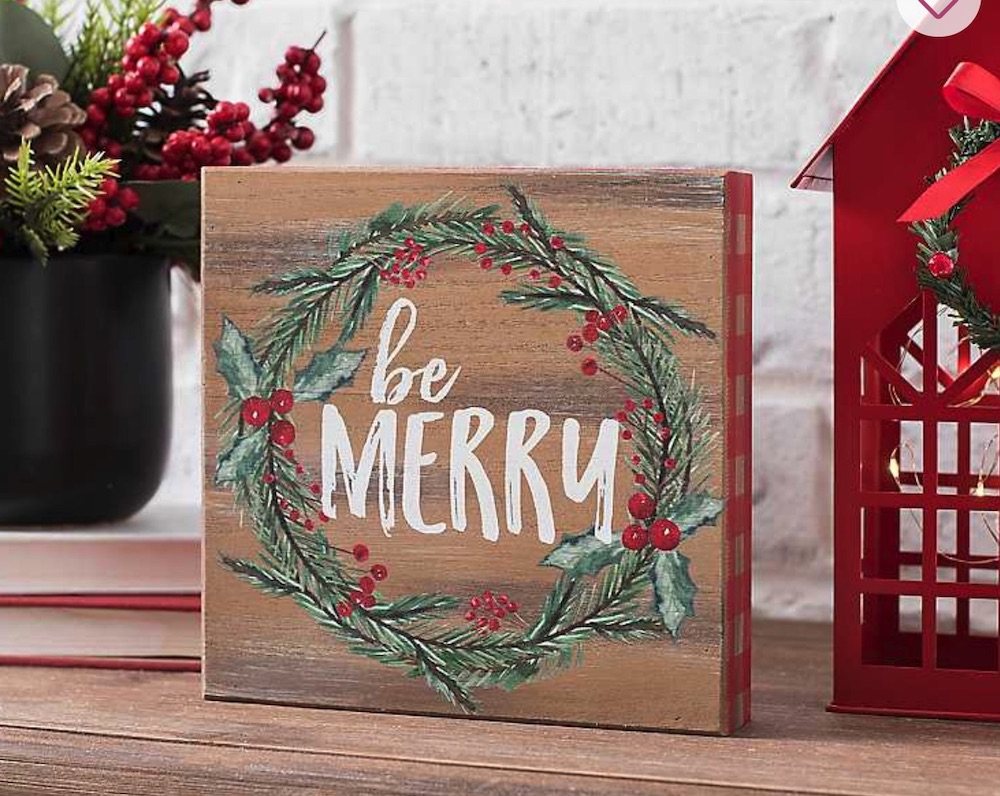 Holiday Decor Be Merry Wreath Word Block #Decor #ChristmasDecor #AffordableChristmasDecor #Christmas #ChristmasAccents #AffordableDecor
