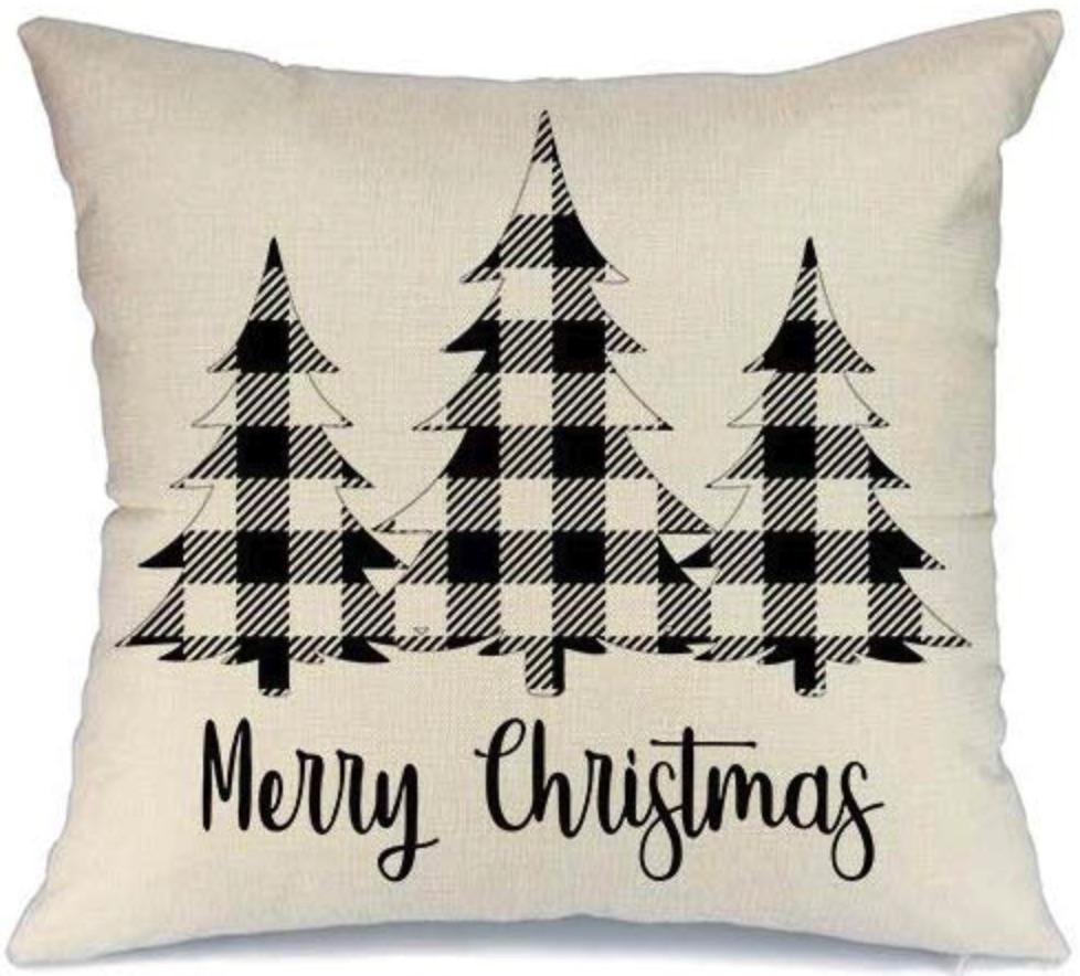 Holiday Decor Black Buffalo Check Cover #Decor #ChristmasDecor #AffordableChristmasDecor #Christmas #ChristmasAccents #AffordableDecor