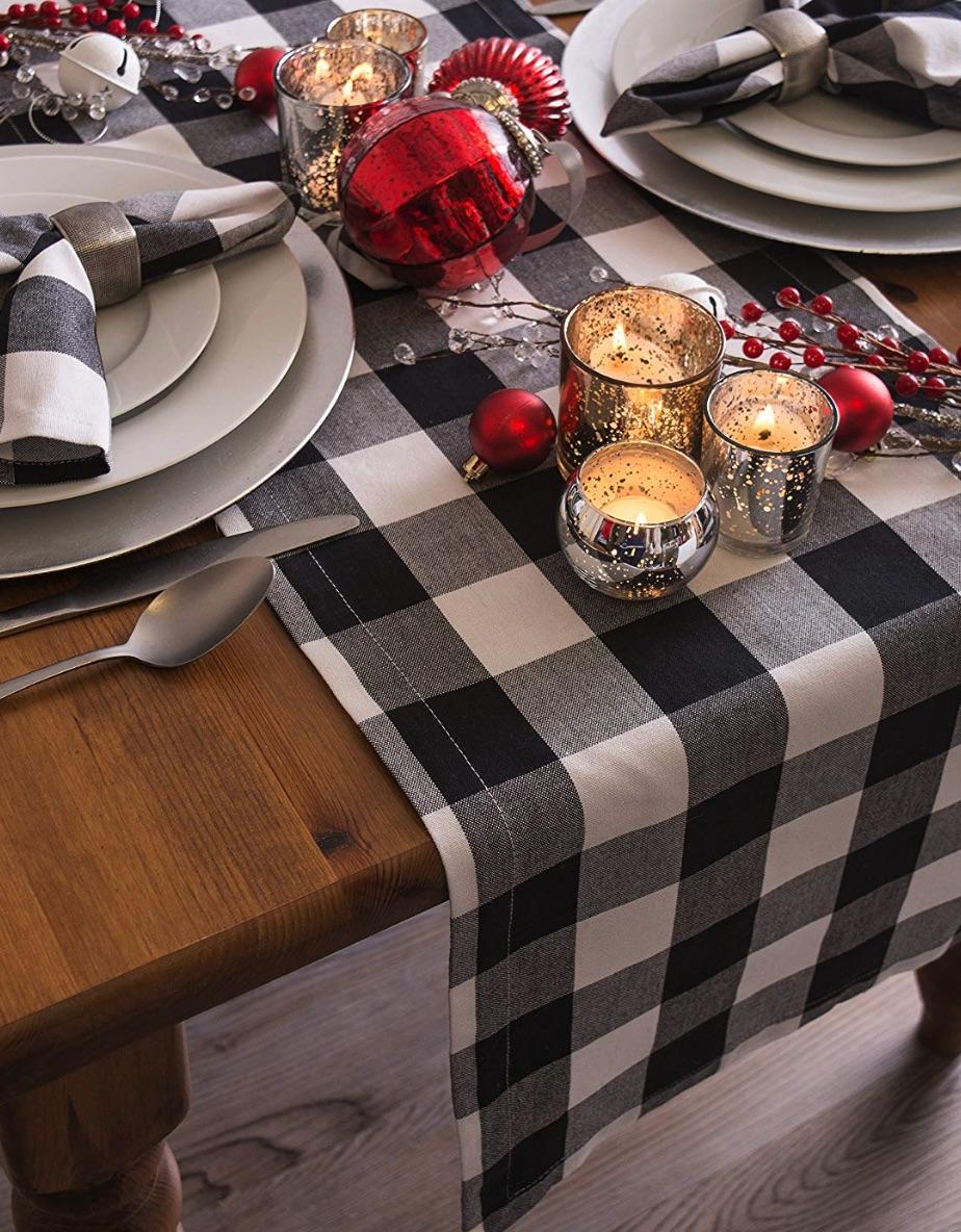 Holiday Decor Black White Buffalo Check Table Runner #Decor #ChristmasDecor #AffordableChristmasDecor #Christmas #ChristmasAccents #AffordableDecor