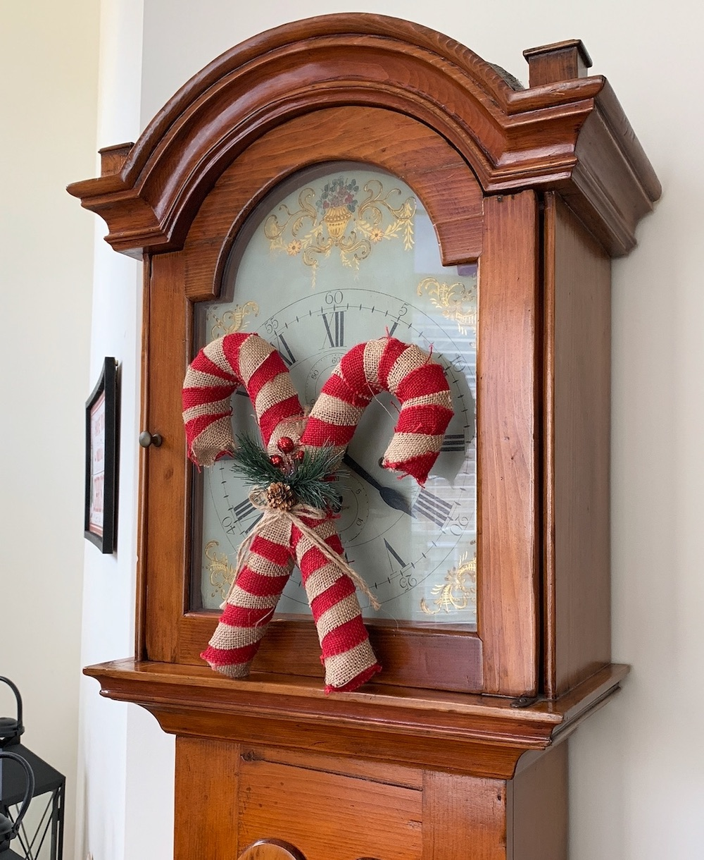 Burlap Covered Candy Canes #Decor #ChristmasDecor #RusticChristmas #RusticChristmasDecor #Christmas ChristmasCabin #ChristmasLodge #ChristmasAccents #HolidayDecor