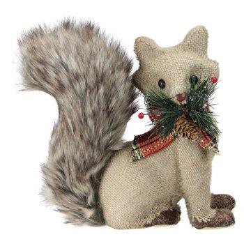 For the Home Burlap Fox with Fuzzy Tail and Plaid Bow #Decor #Christmas #ChristmasDecor #HomeDecor #ChristmasHomeDecor #HolidayDecor