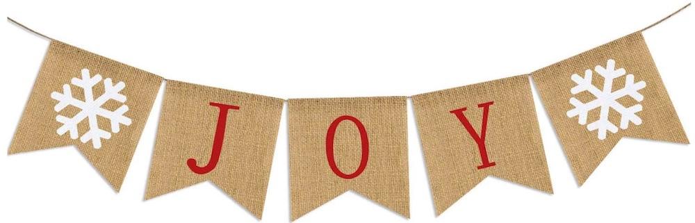 Holiday Decor Burlap Joy Banner #Decor #ChristmasDecor #AffordableChristmasDecor #Christmas #ChristmasAccents #AffordableDecor