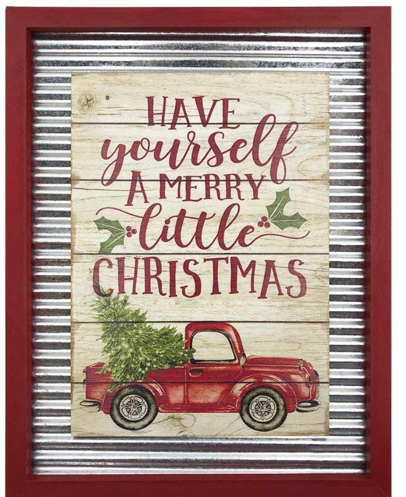 Farmhouse Christmas Decorations to Celebrate the Season Christmas Galvanized Corrugated Distressed Frame Red Truck #Decor #Christmas #Farmhouse #ChristmasDecor #FarmhouseDecor #FarmhouseChristmasDecor #HolidayDecor