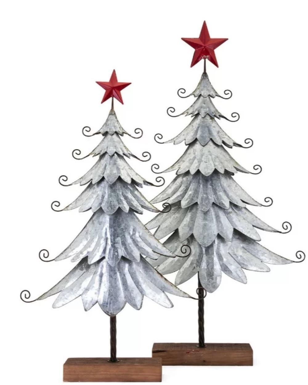 Celebrate the Season Christmas Galvanized Tree Set #Decor #Christmas #Farmhouse #ChristmasDecor #FarmhouseDecor #FarmhouseChristmasDecor #HolidayDecor