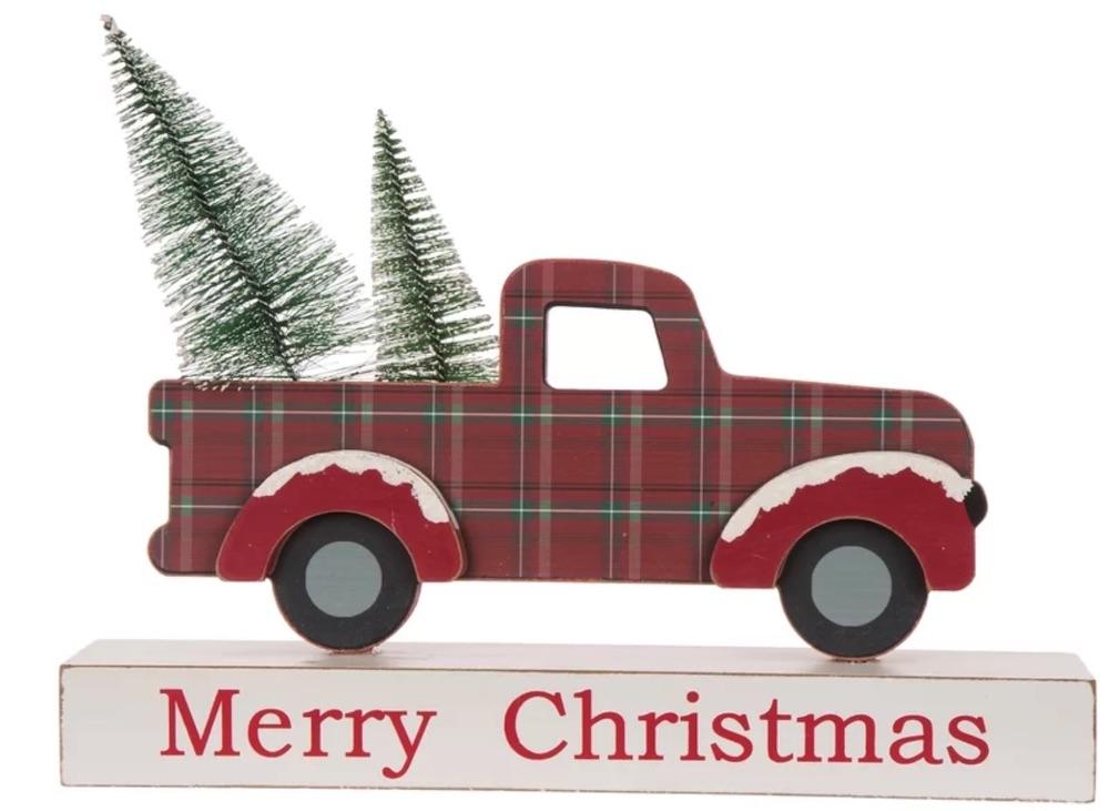 Celebrate the Season Christmas Truck Table Decor #Decor #Christmas #Farmhouse #ChristmasDecor #FarmhouseDecor #FarmhouseChristmasDecor #HolidayDecor