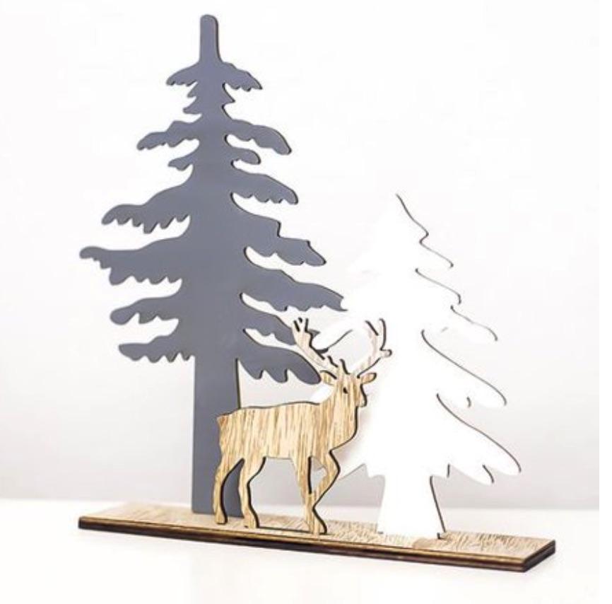 Neutral Holiday Decor Christmas Wooden Elk Tabletop #Decor #ChristmasDecor #AffordableChristmasDecor #Christmas #ChristmasAccents #AffordableDecor