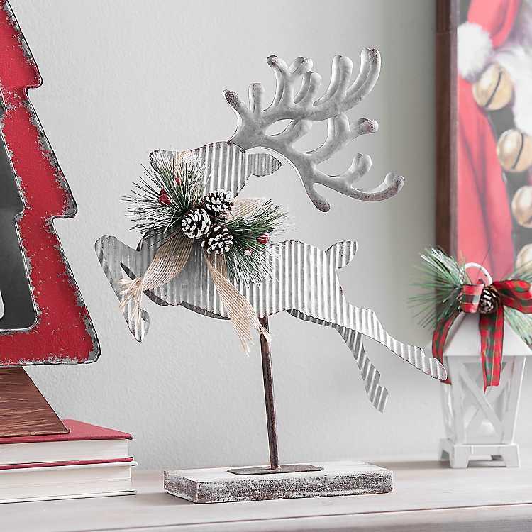 Celebrate the Season Corrugated Metal Reindeer Statue #Decor #Christmas #Farmhouse #ChristmasDecor #FarmhouseDecor #FarmhouseChristmasDecor #HolidayDecor