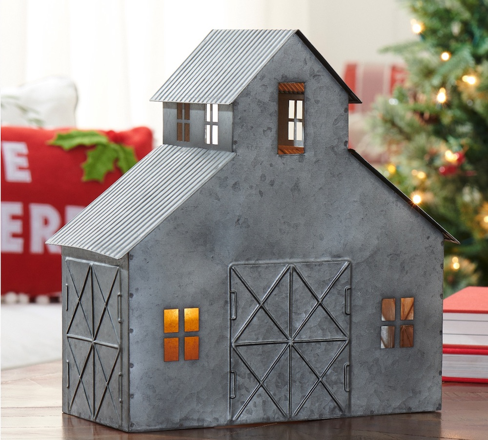 Holiday Decor Distressed Metal Horse Barn #Decor #ChristmasDecor #AffordableChristmasDecor #Christmas #ChristmasAccents #AffordableDecor