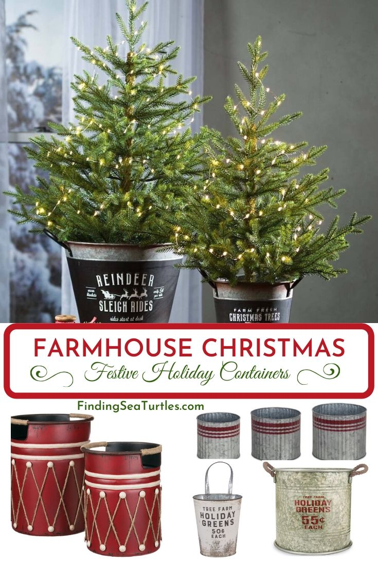 FARMHOUSE CHRISTMAS Festive Holiday Containers #Decor #Organization #ChristmasDecor #FarmhouseDecor #FarmhouseBuckets #FarmhouseChristmas #Containers #ChristmasBuckets #ChristmasBins