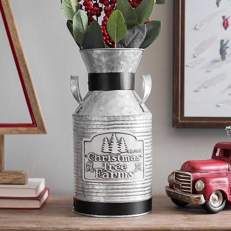 Farmhouse Decor Galvanized Christmas Tree Milk Can #Decor #Organization #ChristmasDecor #FarmhouseDecor #FarmhouseBuckets #FarmhouseChristmas #Containers #ChristmasBuckets #ChristmasBins