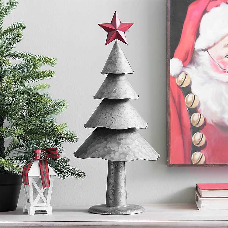 Celebrate the Season Galvanized Metal Christmas Tree with Red Star #Decor #Christmas #Farmhouse #ChristmasDecor #FarmhouseDecor #FarmhouseChristmasDecor #HolidayDecor