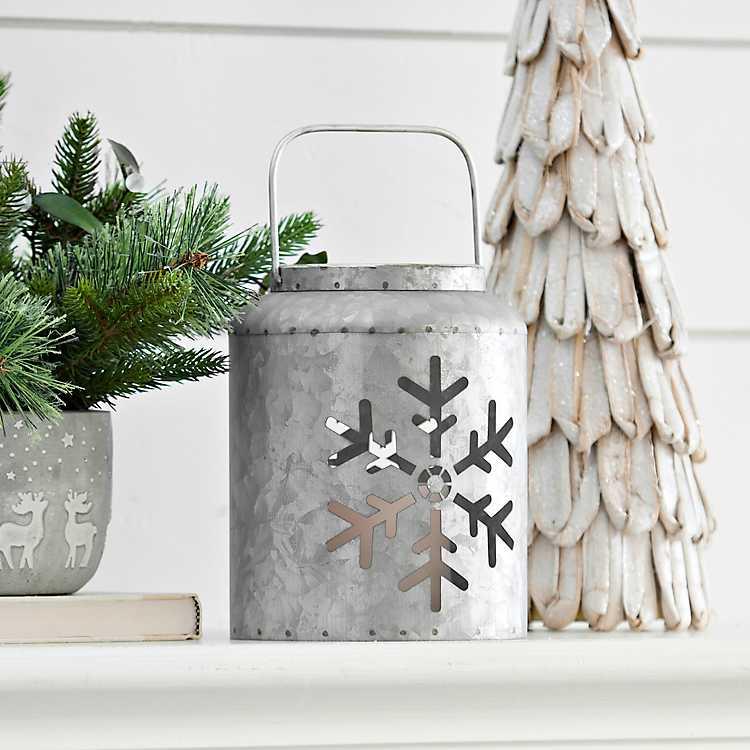 Celebrate the Season Galvanized Metal Snowflake LED Lantern #Decor #Christmas #Farmhouse #ChristmasDecor #FarmhouseDecor #FarmhouseChristmasDecor #HolidayDecor