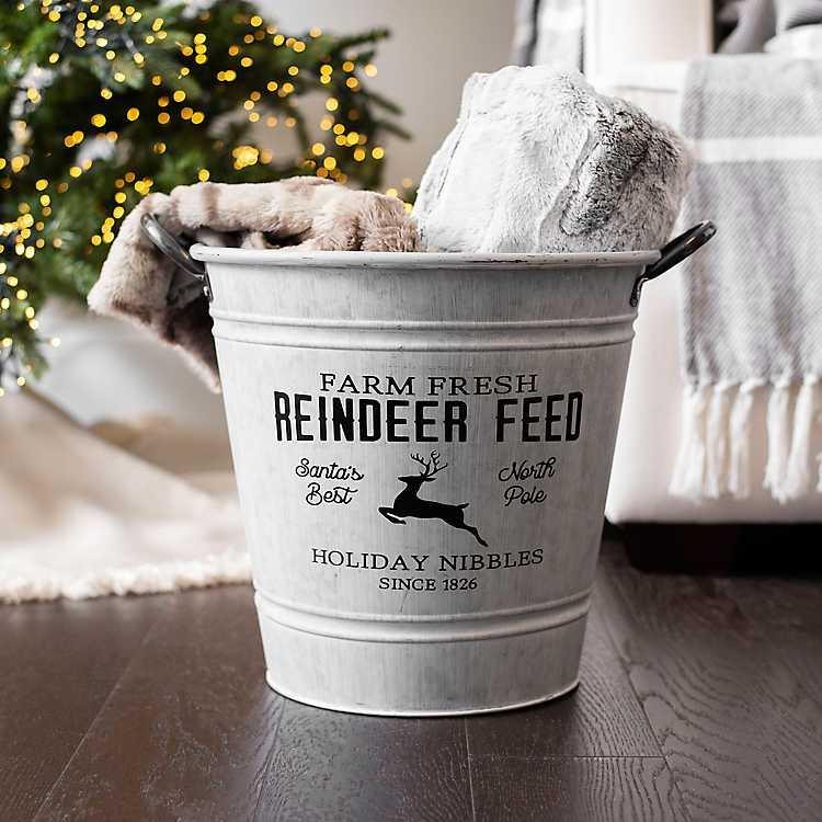 Holiday Storage Galvanized Reindeer Feed Bucket #Decor #Organization #ChristmasDecor #FarmhouseDecor #FarmhouseBuckets #FarmhouseChristmas #Containers #ChristmasBuckets #ChristmasBins