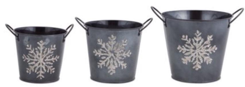 Holiday Storage Glittered Christmas Snowflake Buckets #Decor #Organization #ChristmasDecor #FarmhouseDecor #FarmhouseBuckets #FarmhouseChristmas #Containers #ChristmasBuckets #ChristmasBins