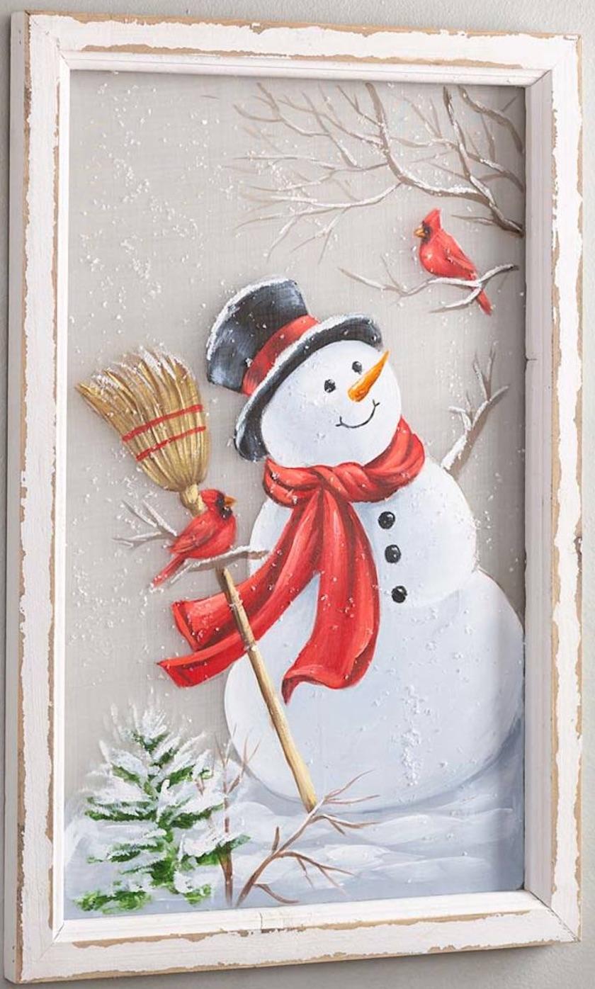 Celebrate the Season Hand-Painted Snowman with Broom Wall Art #Decor #Christmas #Farmhouse #ChristmasDecor #FarmhouseDecor #FarmhouseChristmasDecor #HolidayDecor