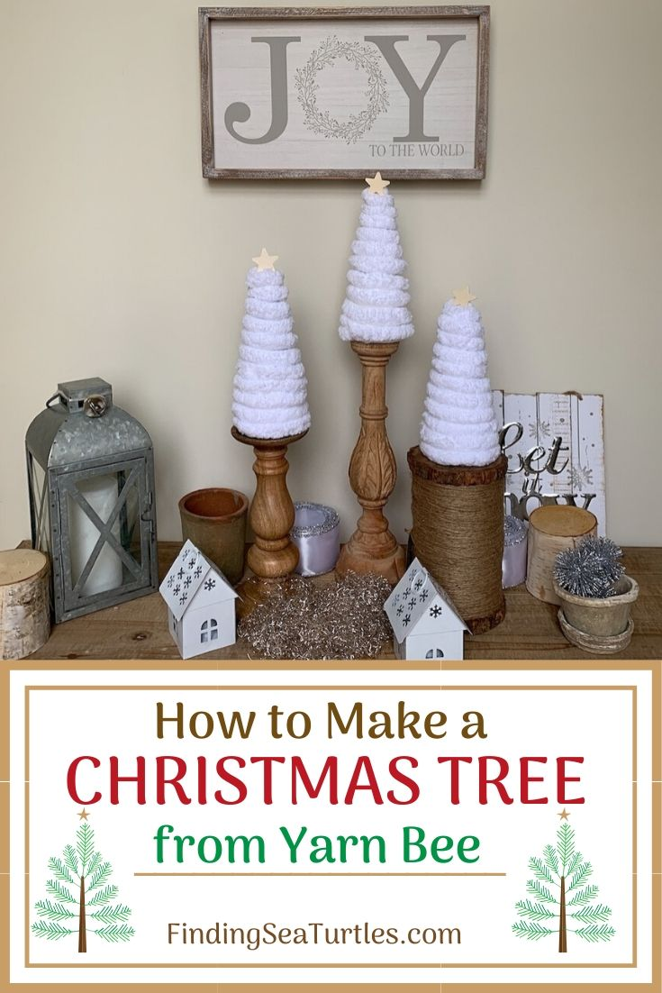 How to Make a Christmas Tree from Yarn Bee #DIY #DIYChristmasTree #ChristmasDecor #ChristmasTableTop #DIYChristmasProject