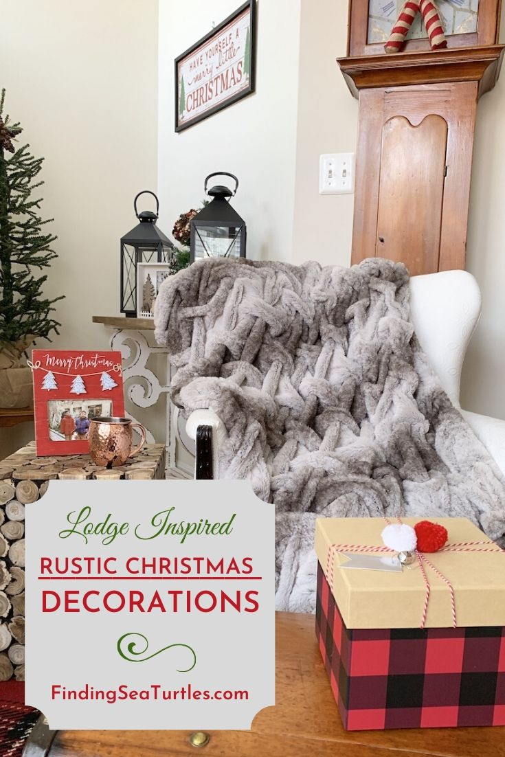 Lodge Inspired Rustic Christmas Decorations #Decor #ChristmasDecor #RusticChristmas #RusticChristmasDecor #Christmas ChristmasCabin #ChristmasLodge #ChristmasAccents #HolidayDecor