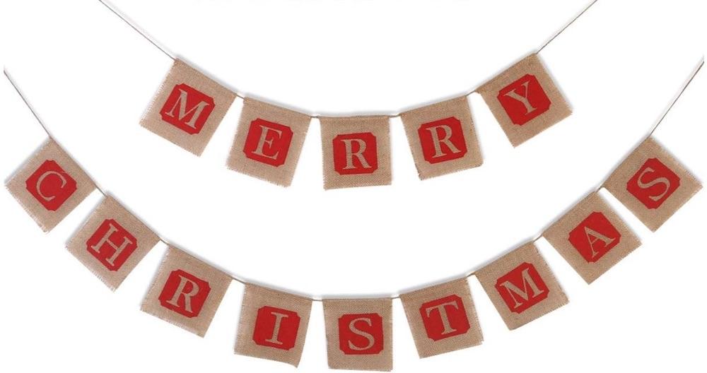 Holiday Decor Merry Christmas Jute Burlap Banner #Decor #ChristmasDecor #AffordableChristmasDecor #Christmas #ChristmasAccents #AffordableDecor