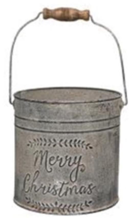 Holiday Storage Merry Christmas Vintage Bucket #Decor #Organization #ChristmasDecor #FarmhouseDecor #FarmhouseBuckets #FarmhouseChristmas #Containers #ChristmasBuckets #ChristmasBins
