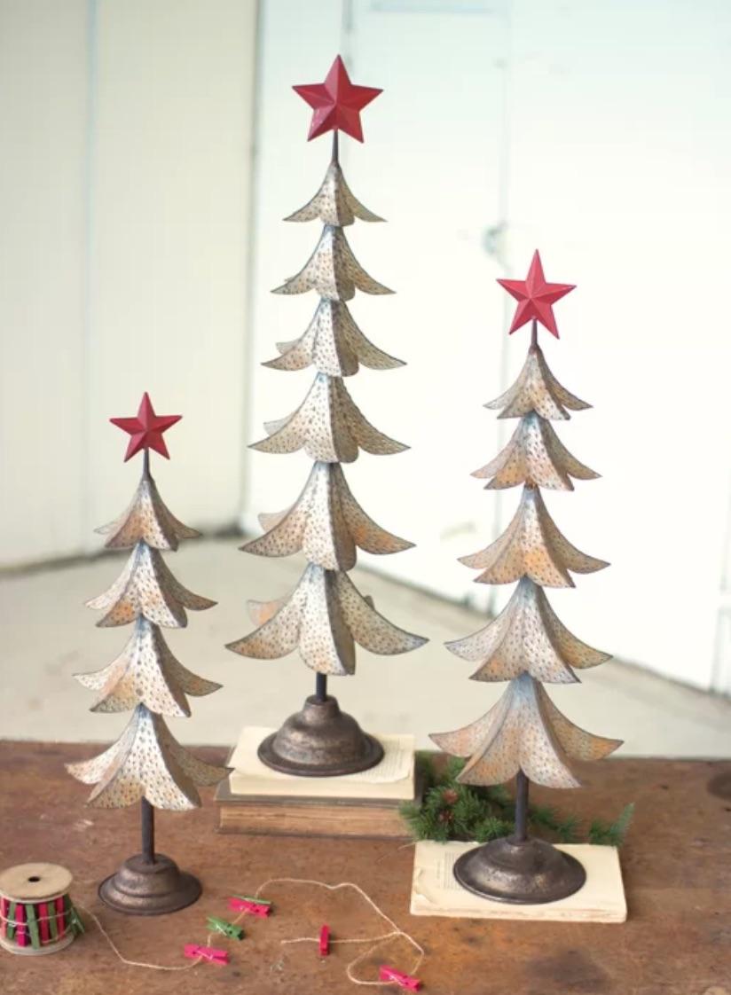 Celebrate the Season Metal Trees with Star Set #Decor #Christmas #Farmhouse #ChristmasDecor #FarmhouseDecor #FarmhouseChristmasDecor #HolidayDecor