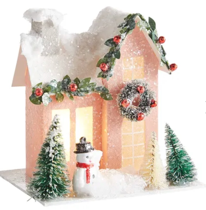 Affordable Christmas Accents Pink Snowman House #Decor #ChristmasDecor #AffordableChristmasDecor #Christmas #ChristmasAccents #AffordableDecor