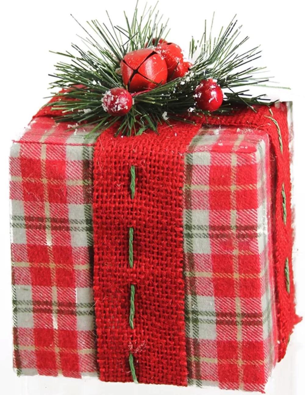 Holiday Decor Plaid Gift Box with Pine Bow Table Top #Decor #ChristmasDecor #AffordableChristmasDecor #Christmas #ChristmasAccents #AffordableDecor