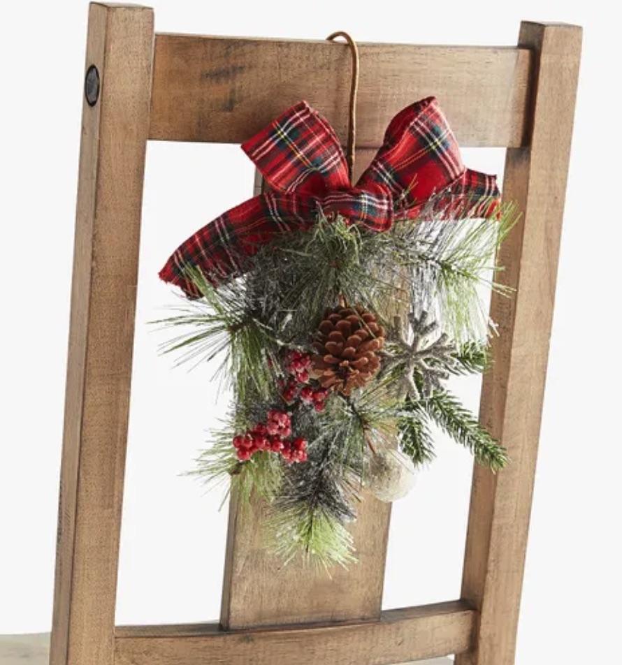 Holiday Decor Plaid Greenery Chair Decoration #Decor #ChristmasDecor #AffordableChristmasDecor #Christmas #ChristmasAccents #AffordableDecor
