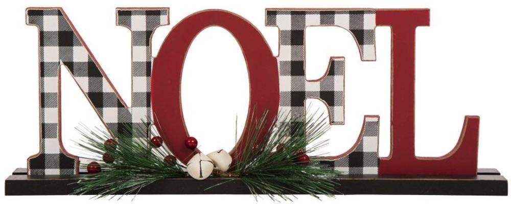Celebrate the Season Plaid Noel Table Decor #Decor #Christmas #Farmhouse #ChristmasDecor #FarmhouseDecor #FarmhouseChristmasDecor #HolidayDecor