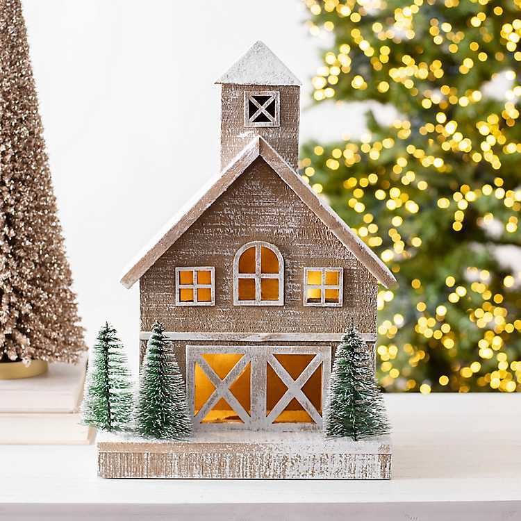 Farmhouse Christmas Decorations to Celebrate the Season Pre-Lit LED Wood Barn #Decor #Christmas #Farmhouse #ChristmasDecor #FarmhouseDecor #FarmhouseChristmasDecor #HolidayDecor