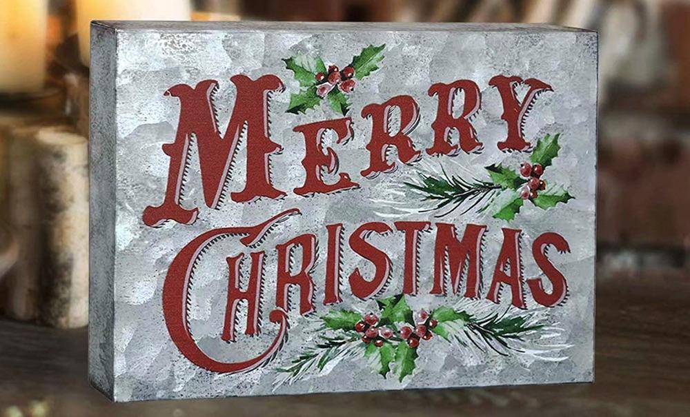 Holiday Decor Retro Galvanized Sheet Box Sign #Decor #ChristmasDecor #AffordableChristmasDecor #Christmas #ChristmasAccents #AffordableDecor
