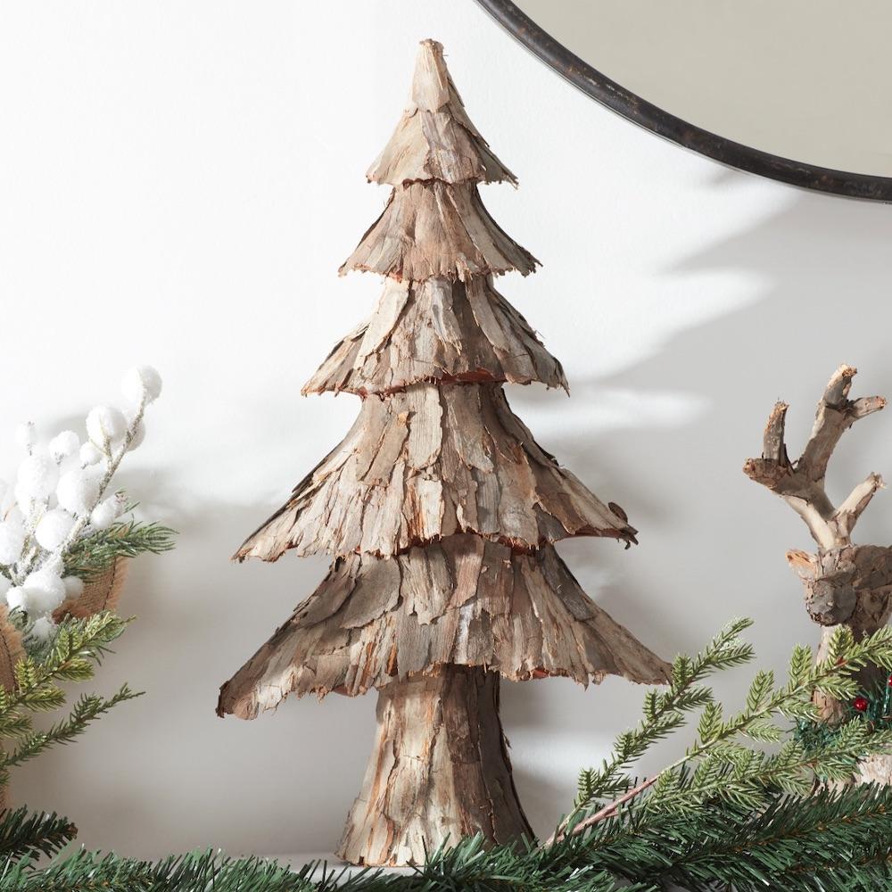 Holiday Decor Rustic Bark Tabletop Christmas Tree #Decor #ChristmasDecor #AffordableChristmasDecor #Christmas #ChristmasAccents #AffordableDecor