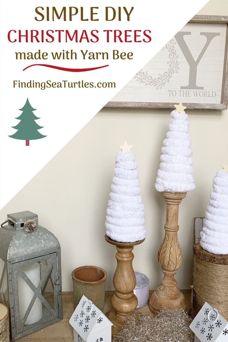 SIMPLE DIY CHRISTMAS TREES Made with Yarn Bee #DIY #DIYChristmasTree #ChristmasDecor #ChristmasTableTop #DIYChristmasProject