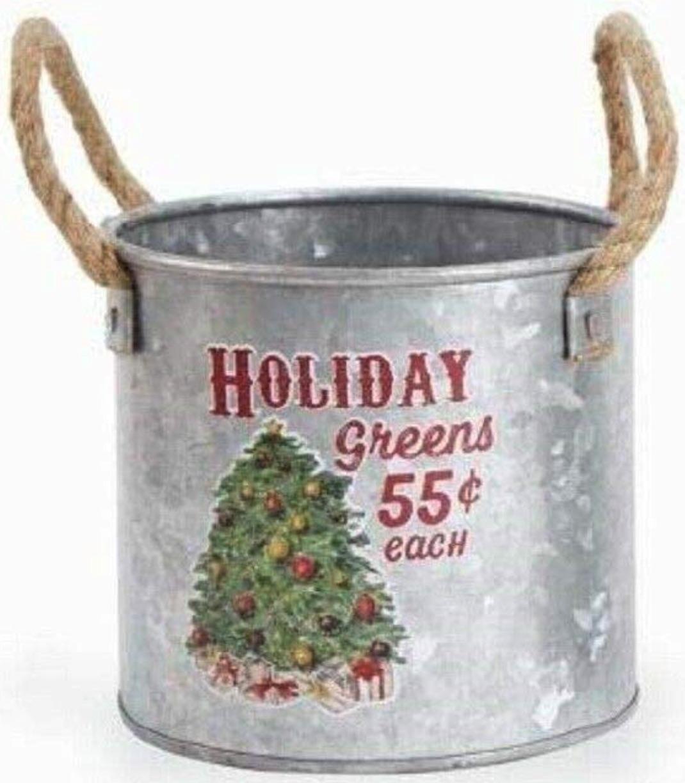 Holiday Storage Santa Small Vintage Tin Bucket #Decor #Organization #ChristmasDecor #FarmhouseDecor #FarmhouseBuckets #FarmhouseChristmas #Containers #ChristmasBuckets #ChristmasBins