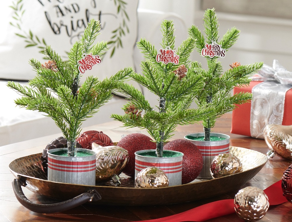 Affordable Christmas Accents Snow Pine Tree with Red Striped Bucket #Decor #ChristmasDecor #AffordableChristmasDecor #Christmas #ChristmasAccents #AffordableDecor