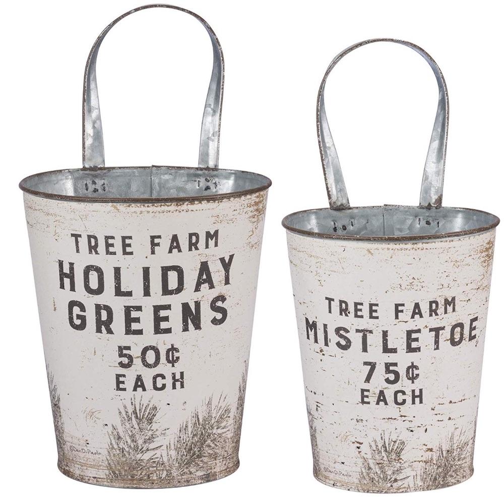 Holiday Storage Tree Farm Holiday Greens #Decor #Organization #ChristmasDecor #FarmhouseDecor #FarmhouseBuckets #FarmhouseChristmas #Containers #ChristmasBuckets #ChristmasBins