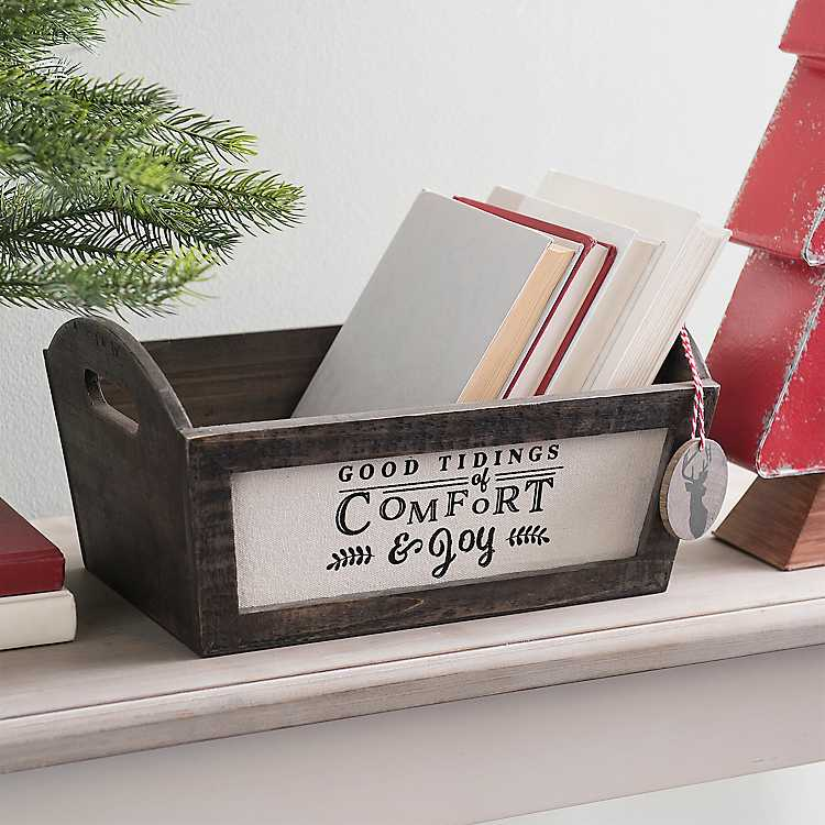 Holiday Storage Wooden Comfort and Joy Christmas Bin #Decor #Organization #ChristmasDecor #FarmhouseDecor #FarmhouseBuckets #FarmhouseChristmas #Containers #ChristmasBuckets #ChristmasBins