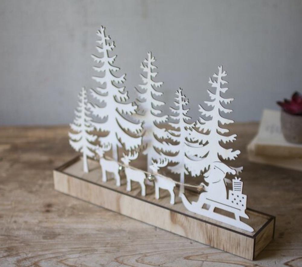 For the Home Wooden Silhouette Santa Deer and Trees #Decor #Christmas #ChristmasDecor #HomeDecor #ChristmasHomeDecor #HolidayDecor