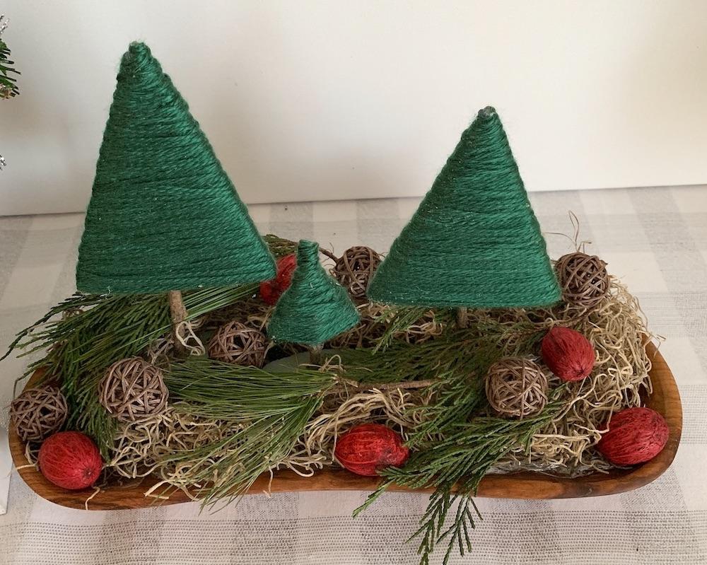 Affordable Home Decor Christmas Tree Centerpiece #DIY #DIYChristmasCenterpiece #ChristmasDecor #ChristmasTableTop #DIYChristmasProject #RusticDecor #ChristmasCenterpiece